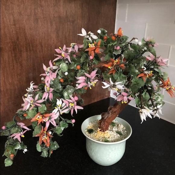 Vintage Other - Vintage Jade Bonsai Glass Tree